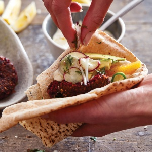 Chickpea & Beetroot Falafels with Tahini Sauce