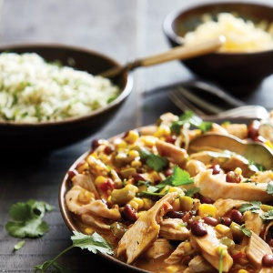 EJ's Luncheonette Blue Plate Special-Inspired South-Western Chilli Chicken & Rice