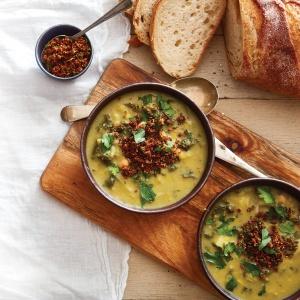 Chickpea & Leek Soup with Chorizo Crumbs